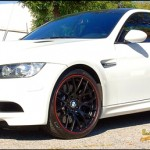 BMW M3 with Pin Striped Black Powder Coat wheels
